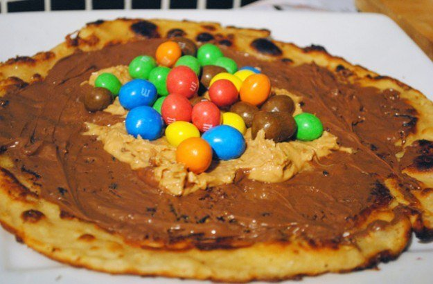 peanut butter pancakes with M&Ms