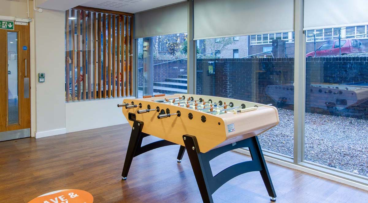 games room in bowman house nottingham