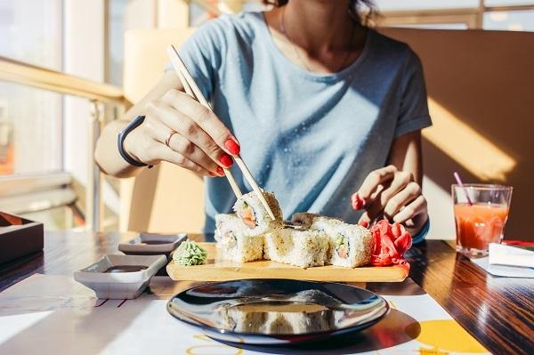 Eating sushi in Aberdeen