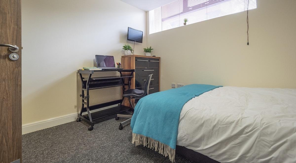 bedroom in the zip building in leicester