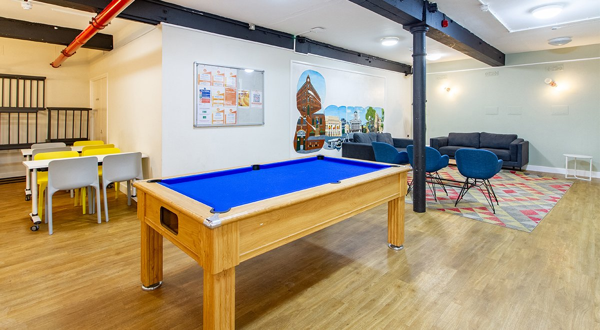 games room communal area nottingham square accommodation