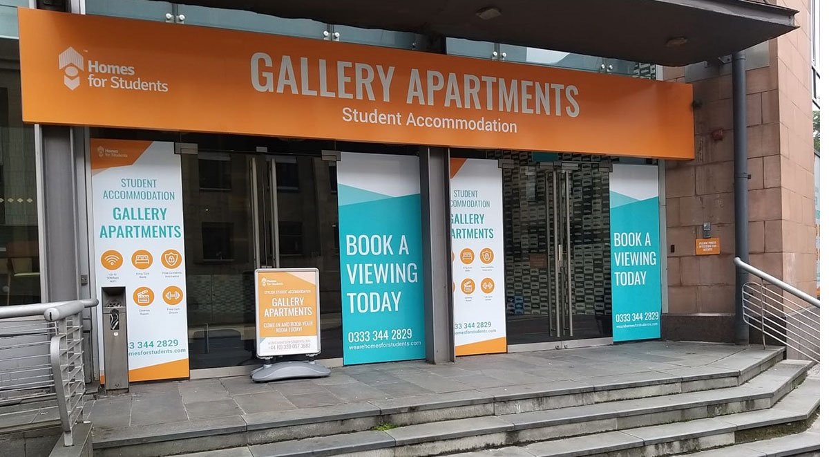 signage Gallery Apartments Glasgow student accommodation