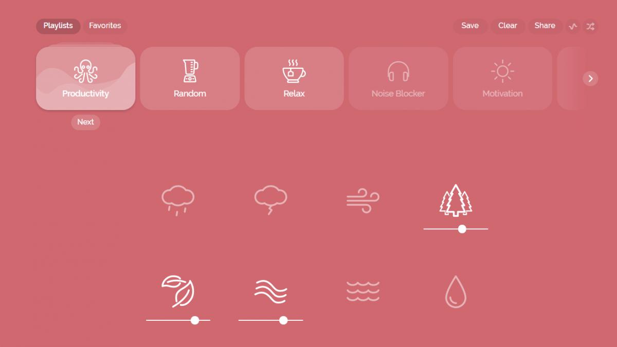Desktop screenshot of the Noisili concentration app
