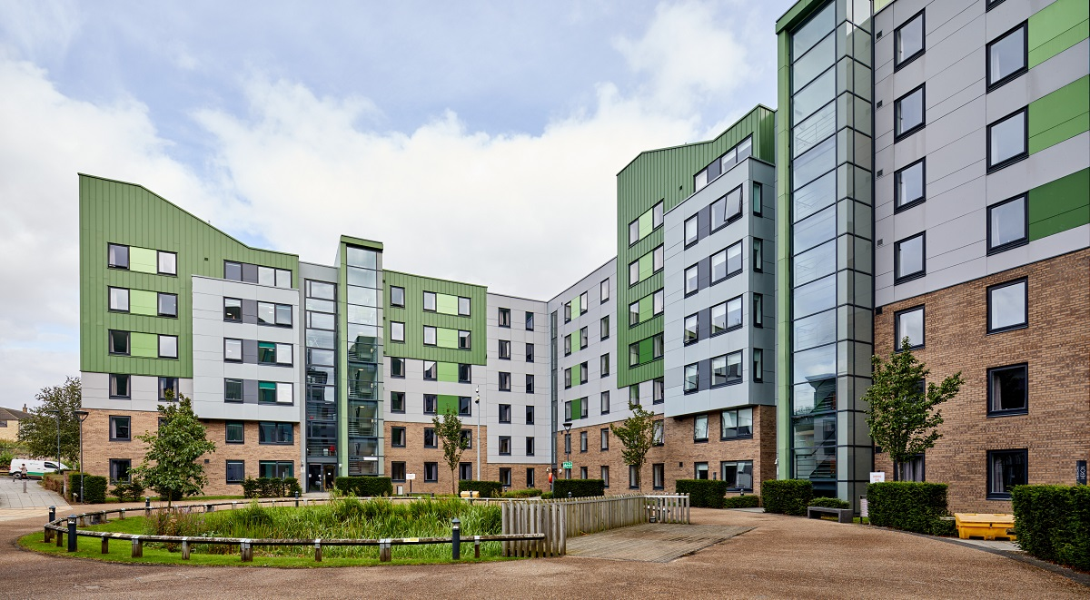 exterior of the green student accommodation in bradford