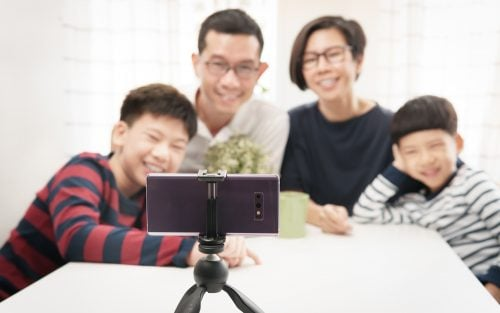 A zoom call with family and friends