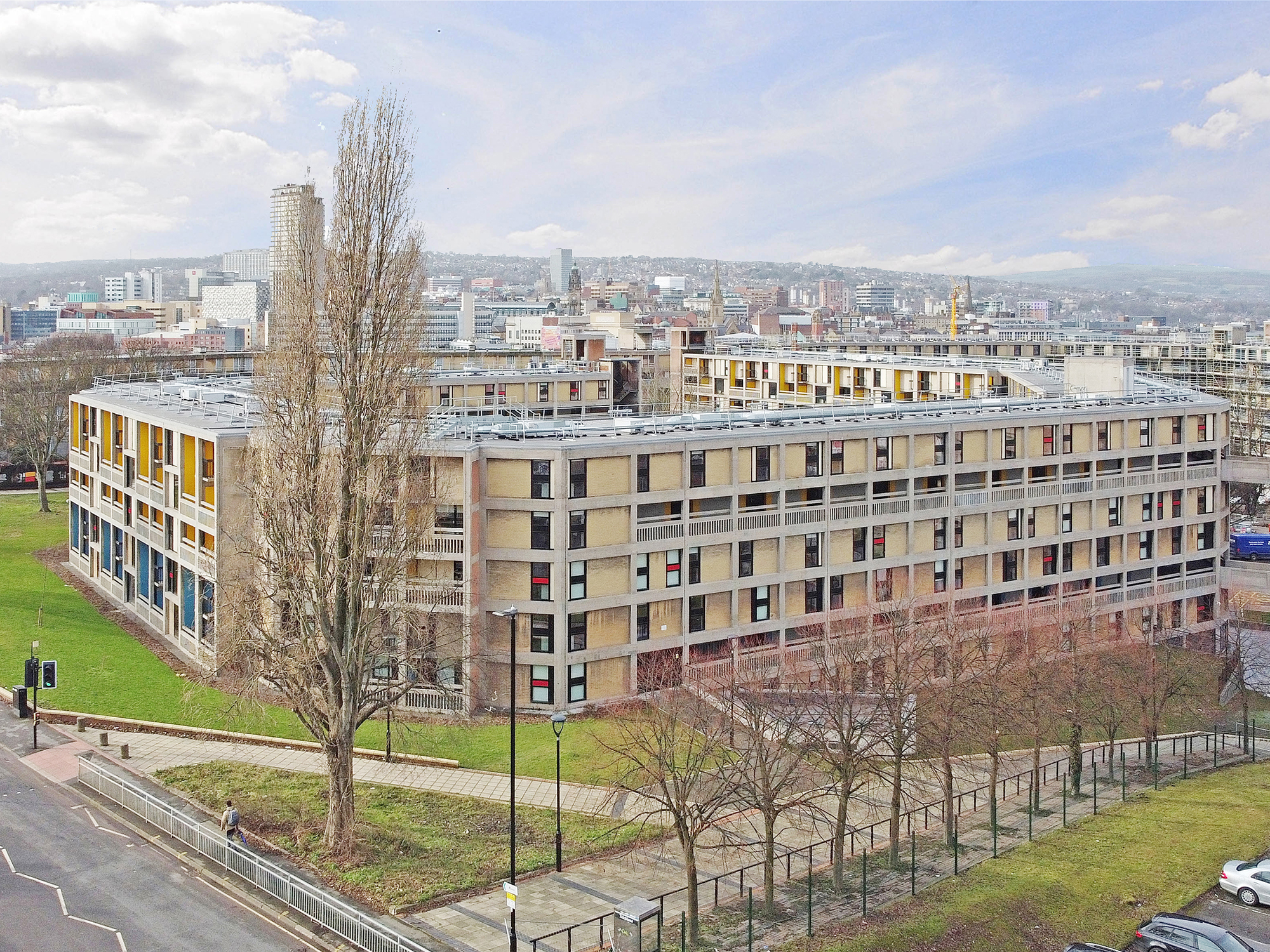 Beton House Drone shot exterior student accommodation