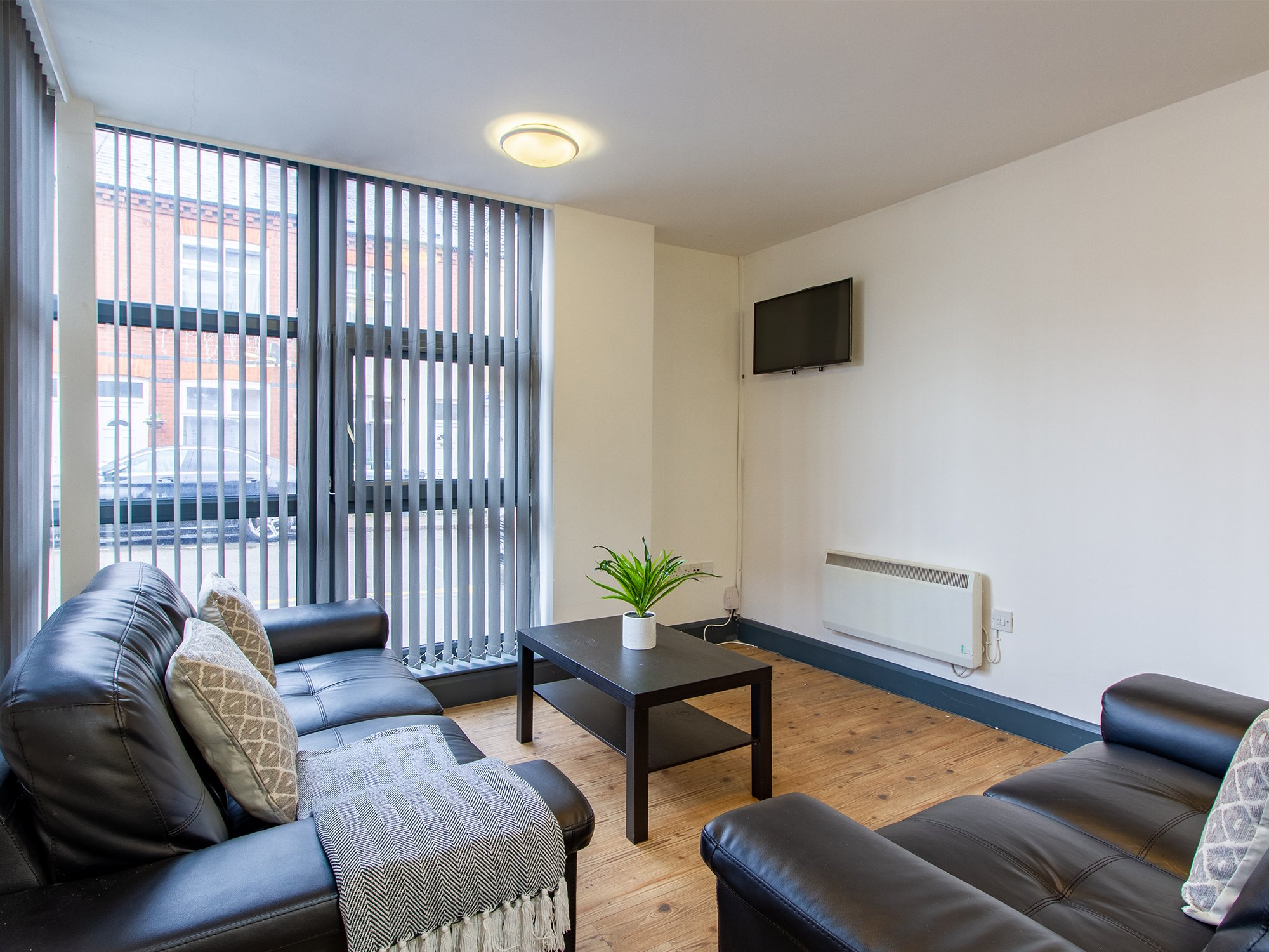 lounge space by kitchen albion court Leicester student accommodation
