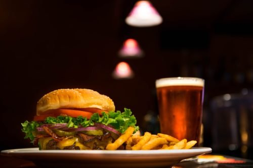 burgers and chips in pub