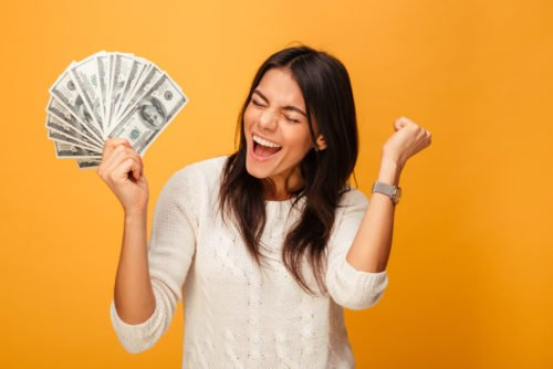 girl with lots of money for student bank accounts